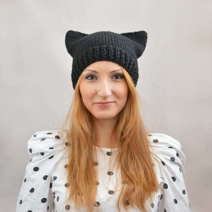 Black Cat Hat, Knit Cat Ear Hat or Cat Beanie, Womens Cat Hat by SlouchyBeanie on Etsy
