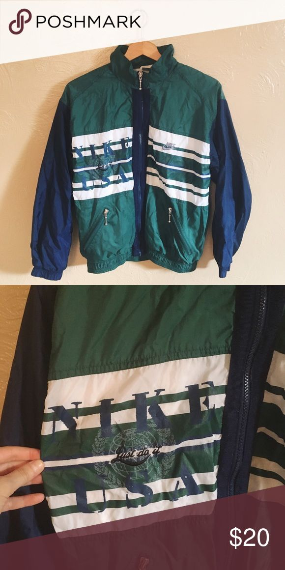 [NIKE] Vintage Sports Jacket Vintage green and blue Nike sports jacket, in great condition! Nike Jackets & Coats