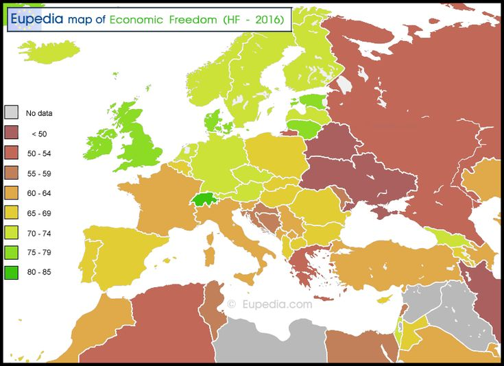 Map of economic freedom in and around Europe