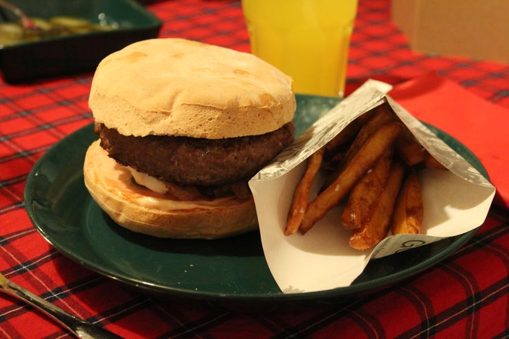 Homemade gourmet burger and fries <3