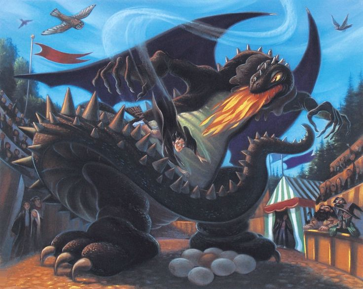 Harry Potter - Battle with The Dragon - Mary GrandPre - World-Wide-Art.com - #harrypotter #jkrowling #marygrandpre