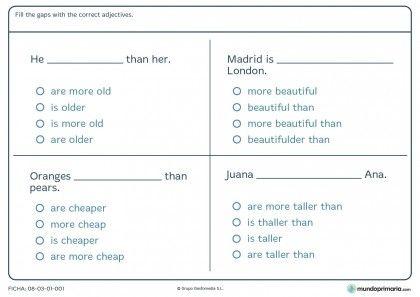 Ficha de rellenar con los adjetivos correctos en inglés para primaria