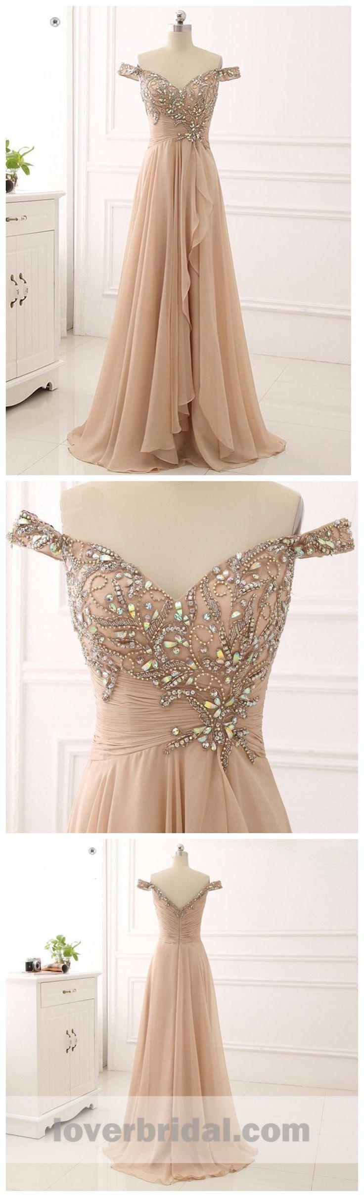 Off Shoulder Delicate Beading Long Custom Evening Prom Dresses, 17426