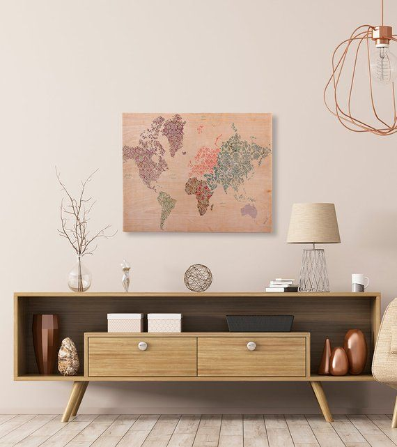College Home Decor: Boho World Map Multi Color Printed Birchwood Wall Art