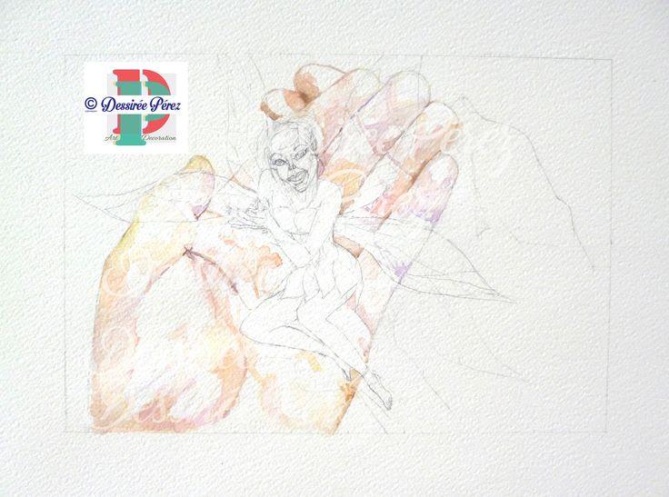 dessireeartdecostep2 / passo 2 #workinprogress a new #watercolor #fantasyillustration for #Dardagosto #mostracollettiva di arte , il compito per questa volta insieme al gruppo #spicelapiscollettivoillustratori e quella di rappresentare un personaggio o scena di un libro .Ho scelto la bella fatina #tinkerbell conosciuta anche come #trilli o #campanita del libro #peterpan autore #jamesmattewbarrie #acquerello #illustrazione Dessirèe Pèrez all rights reserved