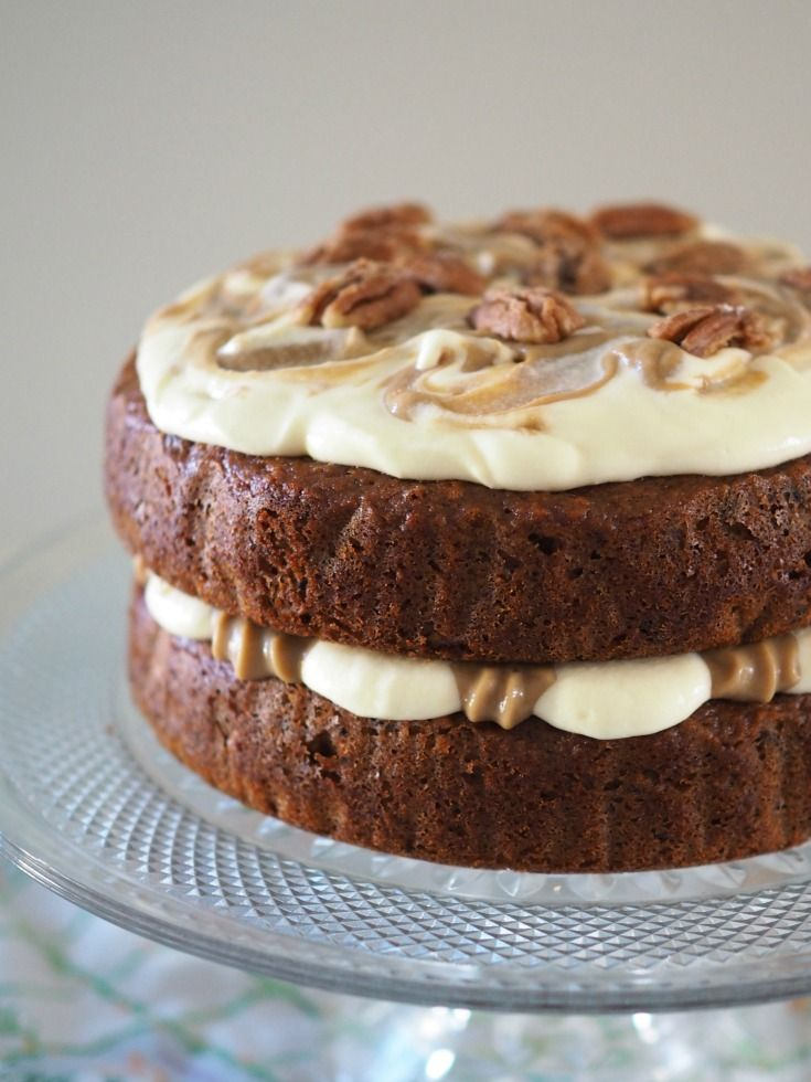 Sticky Date Cake with Caramel Custard and Cream Cheese Frosting - Champagne and Chips