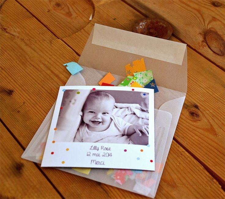 """Un faire-part magnet pour une naissance, un mariage, un """"save the date"""".: Enveloppe et faire-part originaux avec des confettis"""