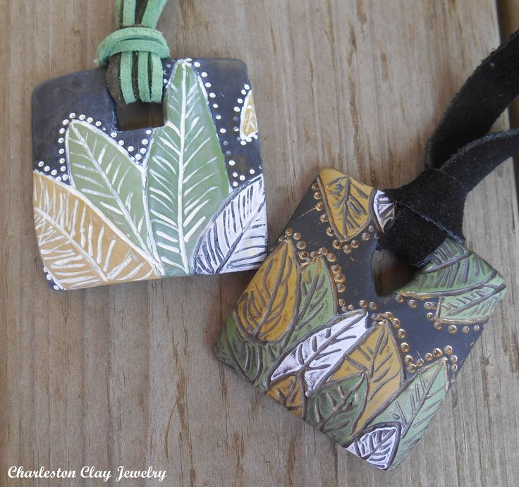 FREE TUTORIAL!  Rustic Leaf Palm Pendants!  website: http://www.charlestonclayjewelry.com/tutorials/free-tutorial-on-rustic-palm-leaf-batik-pendant ~ Polymer Clay Tutorials