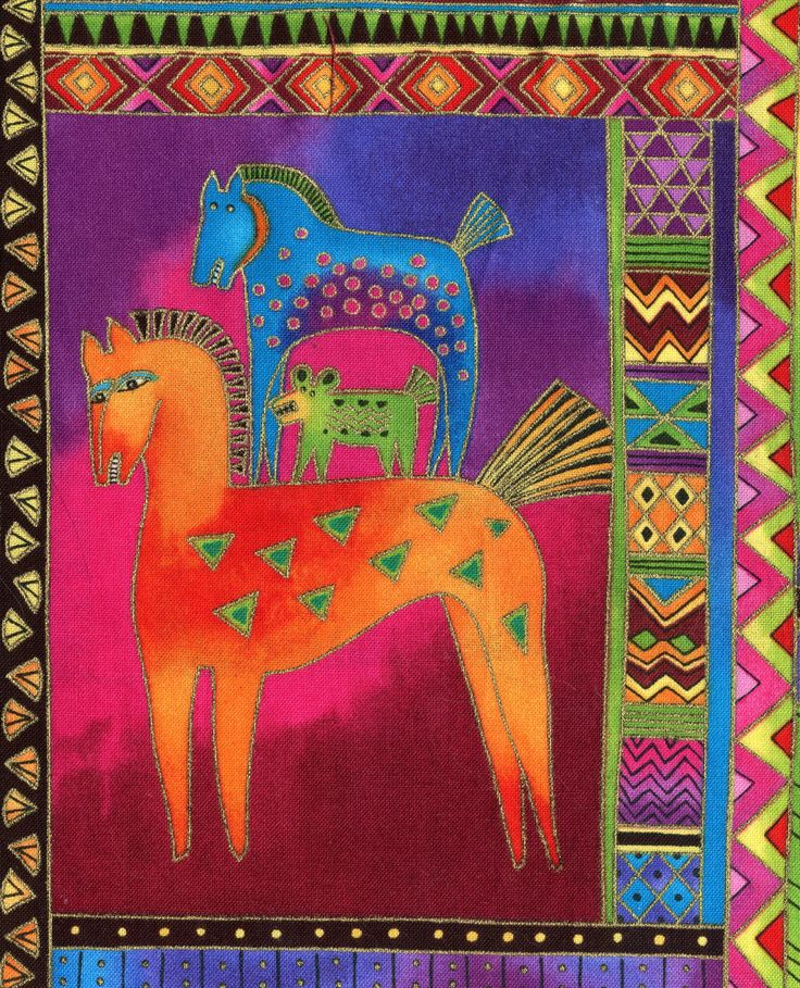 Laurel Burch horse fabric patch, wild pony appliqué handmade gift