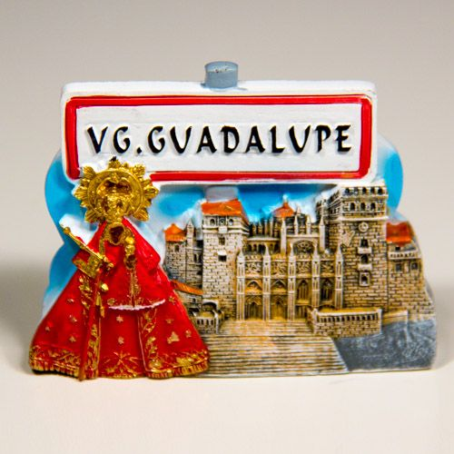 Resin Fridge Magnet: Spain. Guadalupe (Caceres Province) and Monastery of Santa Maria de Guadalupe