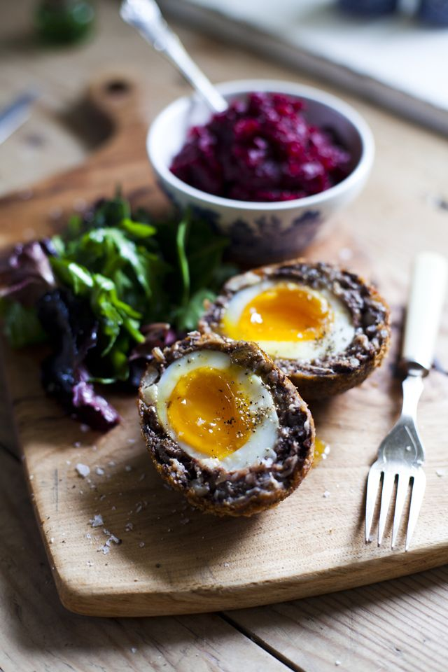 Black Pudding Scotch Eggs with Beetroot Relish   DonalSkehan.com, A new take on the Irish breakfast!