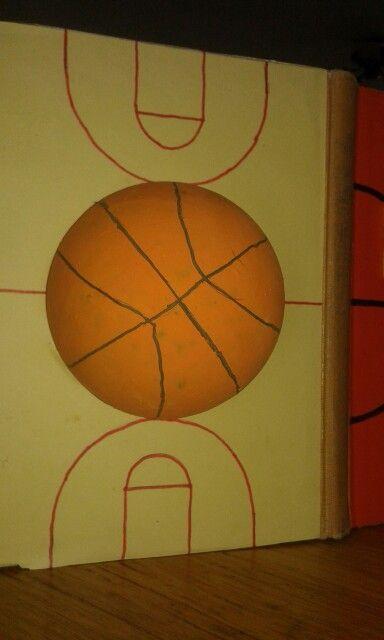 Dit is de achterkant van het boek. Het is een basketbalveld met de middenstip als basketbal.