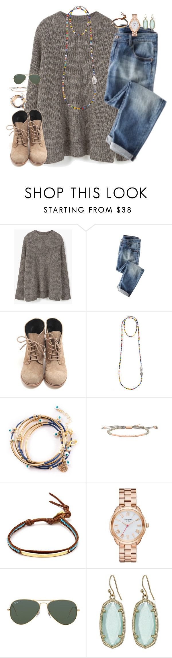 """an apple day keeps anyone away if u throw it hard enough"" by kaley-ii ❤ liked on Polyvore featuring MANGO, Bettina Duncan, Gorjana, Chan Luu, Kate Spade, Ray-Ban and Kendra Scott"