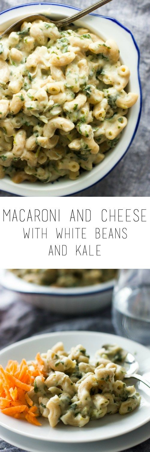 Macaroni and cheese with white beans and kale - with a little makeover you can make mac and cheese a little bit healthier. Quick and easy to prepare!