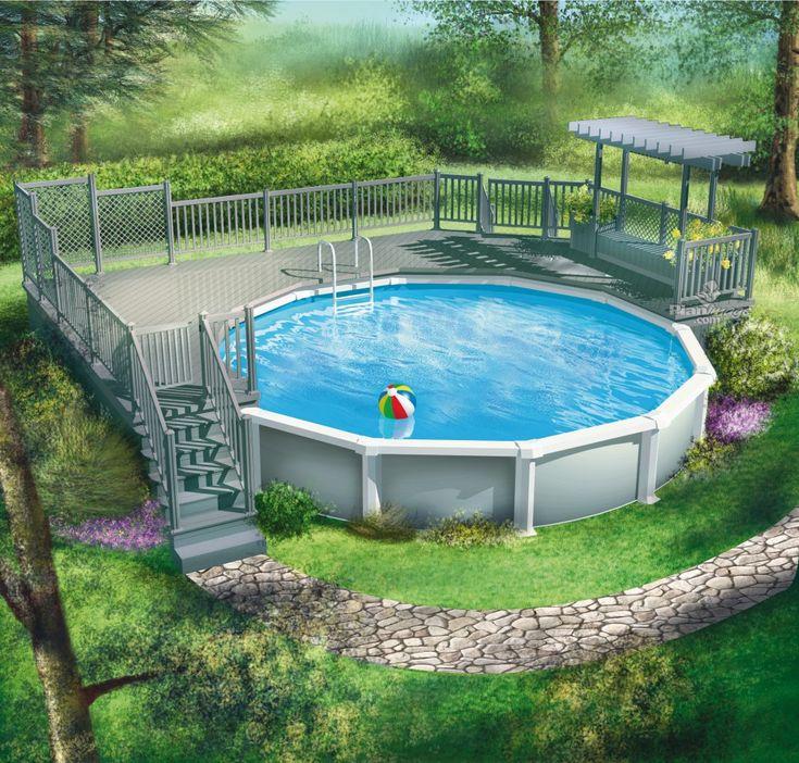 Qui dit été, dit piscine! Amusez-vous tout au long de l'été sur cette terrasse en bois à palier unique qui entoure la moitié de la piscine. Ses deux escaliers permettent un accès à la pelouse.<br/> Surélevée et entourés de garde-corps à barreaux, la terrasse offre deux aires plus intimes : la première est protégée par de hauts panneaux de treillis, et la deuxième comprend un banc flanqué de deux boîtes à fleurs sous une magnifique pergola.