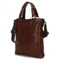 """Aruba"" Men's Vintage Leather Tote & Vertical Messenger Bag"