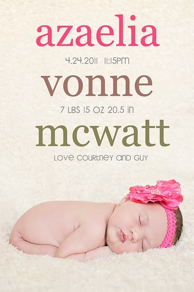beautiful baby announcement