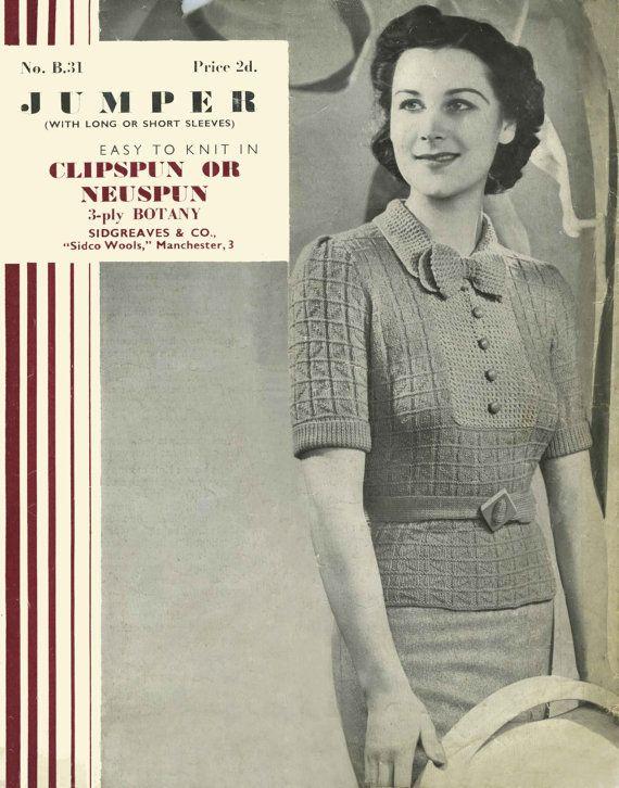 Vintage Ladies Jumper Knitting Pattern 1950 PDF by LittleJohn2003