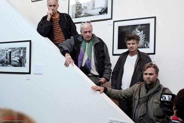 https://flic.kr/p/FFzF3s | Degree South 'PEACE' Jack Picone, Tim Page, Ben Bohane, Stephen Dupont, closing drinks | Degree South 'PEACE' L to R Jack Picone, Tim Page, Ben Bohane, Stephen Dupont, closing drinks  at Meyer Gallery Danks Street, Sydney 2013. Part of the Reportage Festival that clashed with Head-On and ran into some censorship woes over it's alignment with the Vivid festival. Too much going on at once? You bet! Stephen certainly had a lot going on and I found him to be quite…