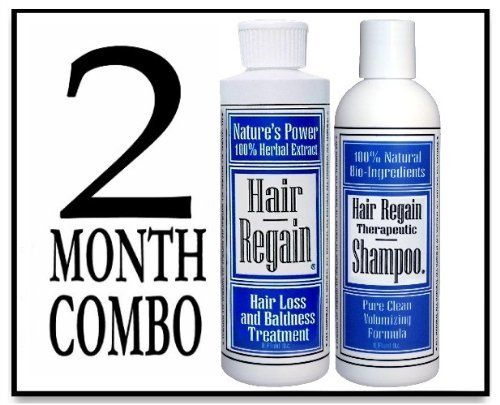 Hair Regain Hair Loss Treatment & Cleansing Shampoo - No Sulfates - 2 Month Combo by Hair Regain Natural Hair Loss System. $34.95. Hair Regain is all natural, with no animal ingredients and is made in the U.S.A.. Non-oily, no scent, no sulfates.. Spray-cap makes reaching the scalp quick and easy.. Saw Palmetto and Nettles are the main ingredients in Nutrifolica; both are important for hair loss prevention and reversal.. DHT Blockers work to stop hair loss at the cau...