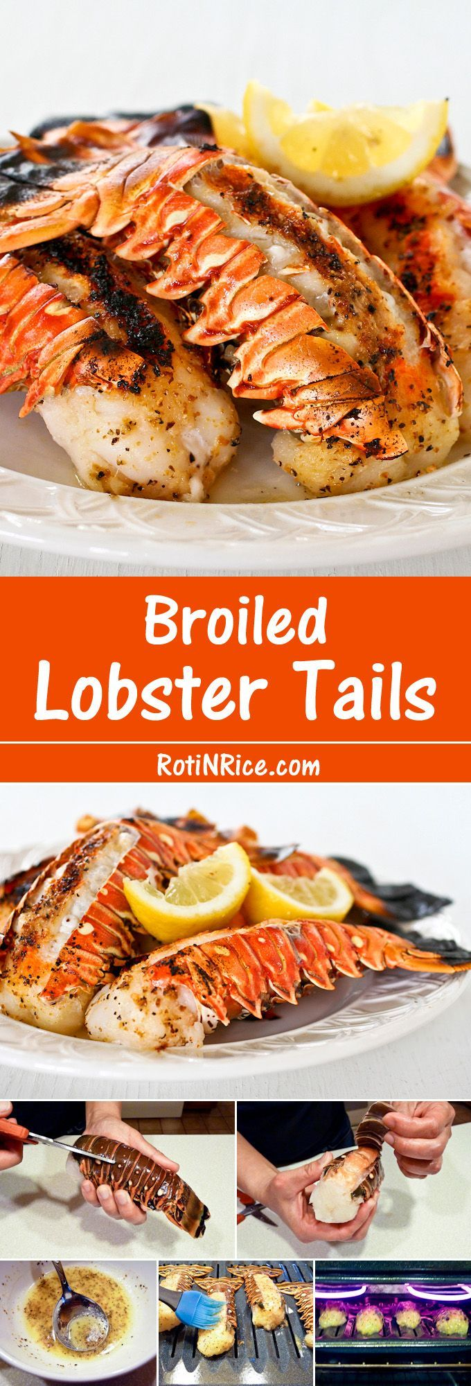 Broiled Lobster Tails - Flavored with lemon pepper butter for that special occasion. It is totally worth it!