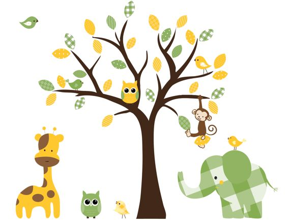 Childrens nursery wall decals animal jungle art by couturedecals, $129.00