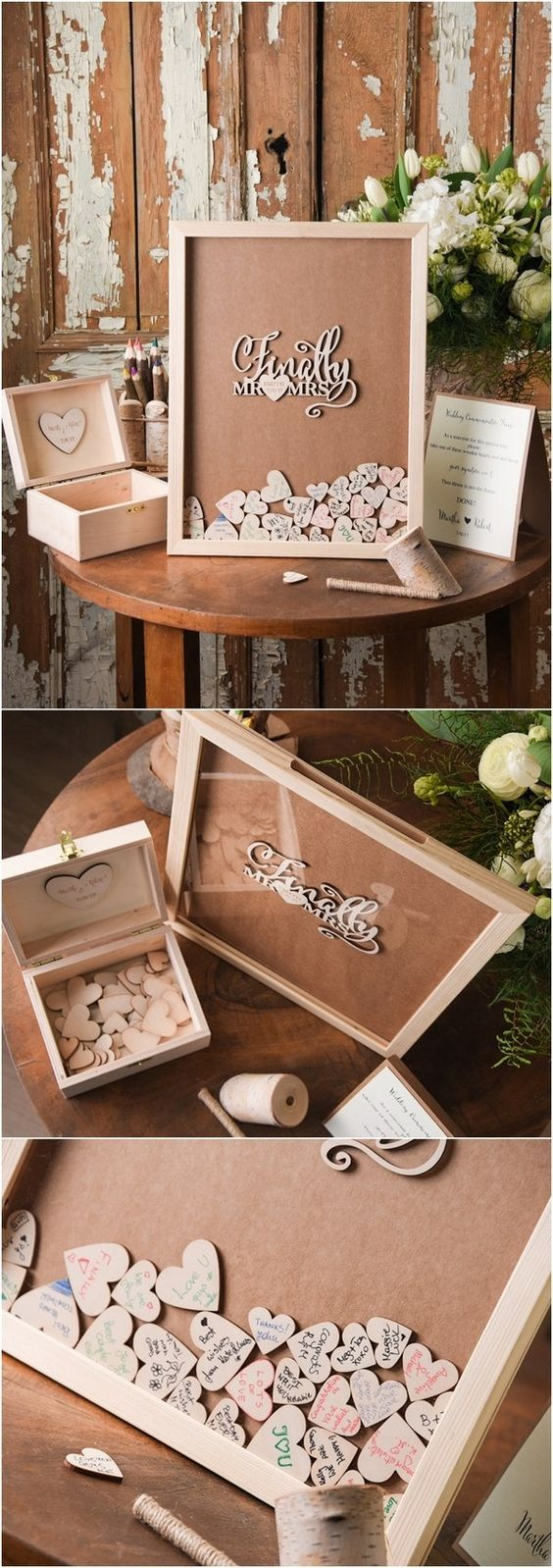 Rustic Laser Cut Wood Wedding Guest Book- Finally Mr&Mrs / http://www.deerpearlflowers.com/rustic-wedding-guest-books-botanical-wedding-invitations/