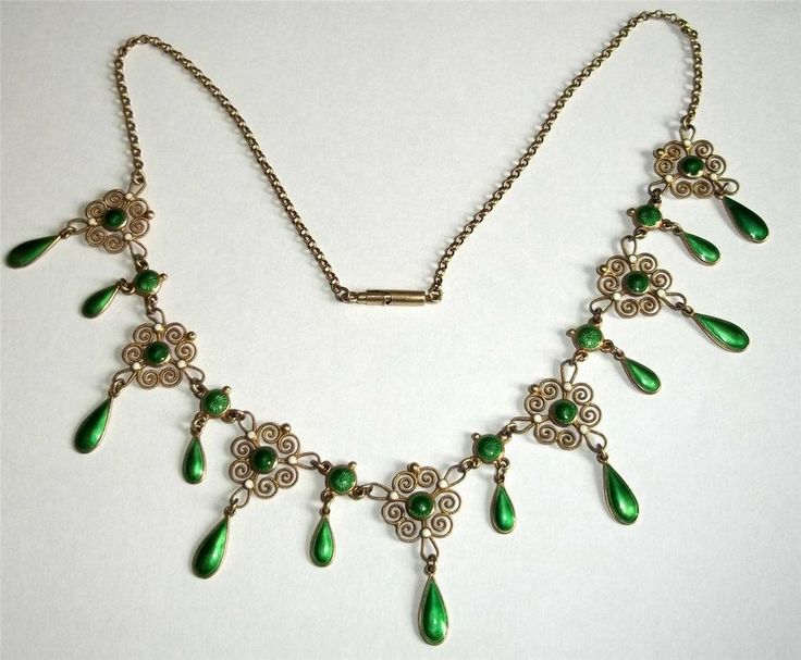 Marius Hammer Norway Gold Washed Silver Filigree & Green Enamel Necklace 930S