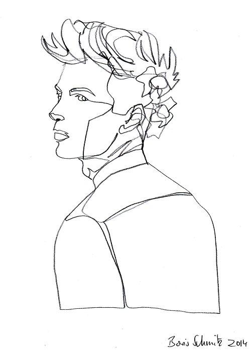 "Continuous Line Contour Drawing Artists : Borisschmitz "" quot gaze one continuous line drawing by"