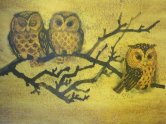 'Retro Owl Painting on Wood' from Edward Farms
