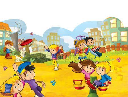 images enfants qui jouent jeux pacifiques   Enfants dessin animé qui jouent — Photographie illustrator_hft ...