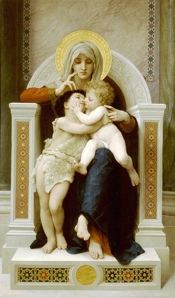 ' La Vierge, L'Enfant Jesus et Saint Jean Baptiste' (1875) by French painter William-Adolphe Bouguereau (1825-1905). Oil on canvas, 79 x 48 in. via l'atelier du peintre auch