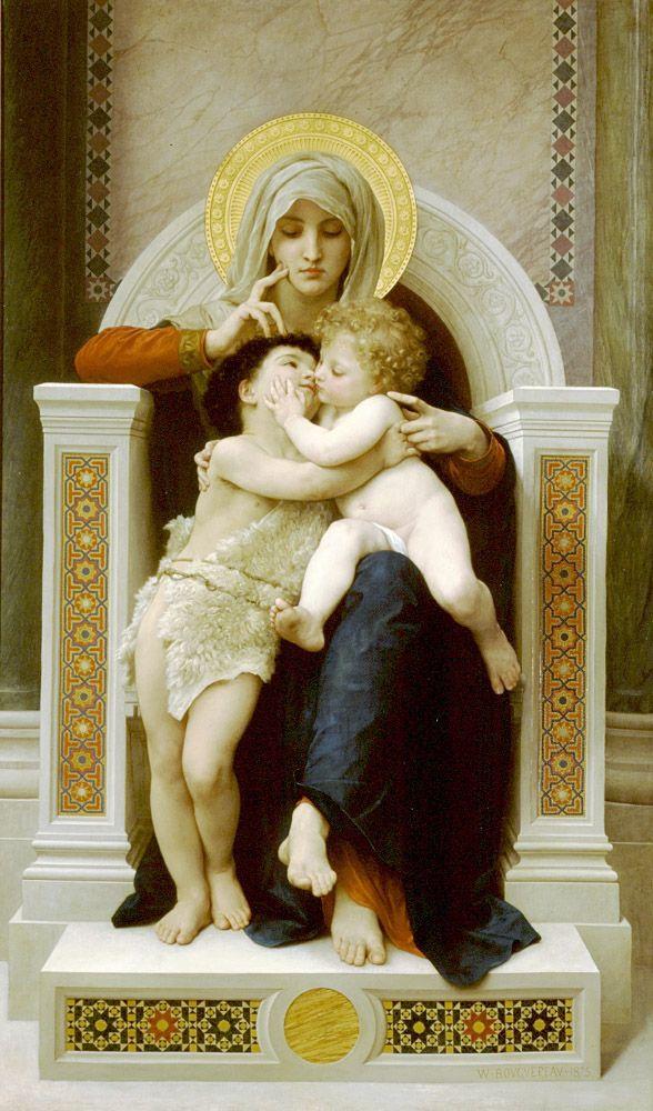 William Adolphe Bouguereau 1825-1905)  La Vierge, L'Enfant Jesus et Saint Jean Baptiste  Oil on canvas  1875