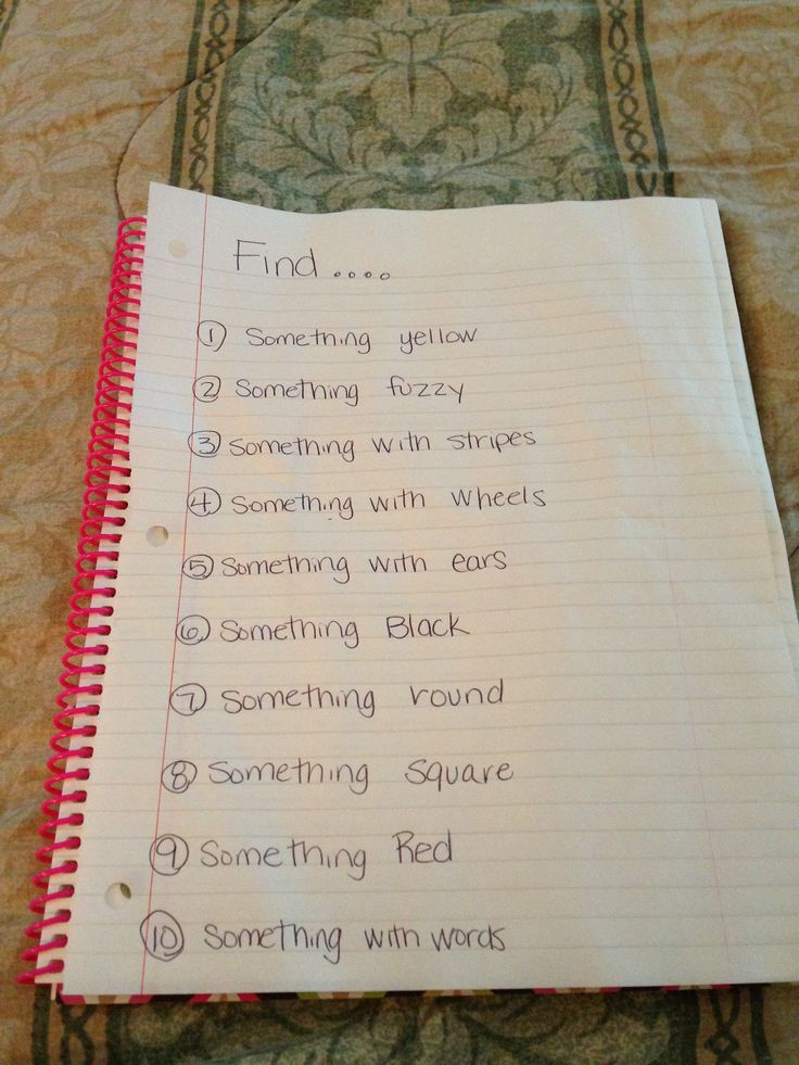 Indoor scavenger hunt for younger kids. My 7 year old helped read the list to my 4 year old and they had a blast! Great for team building skills between siblings!