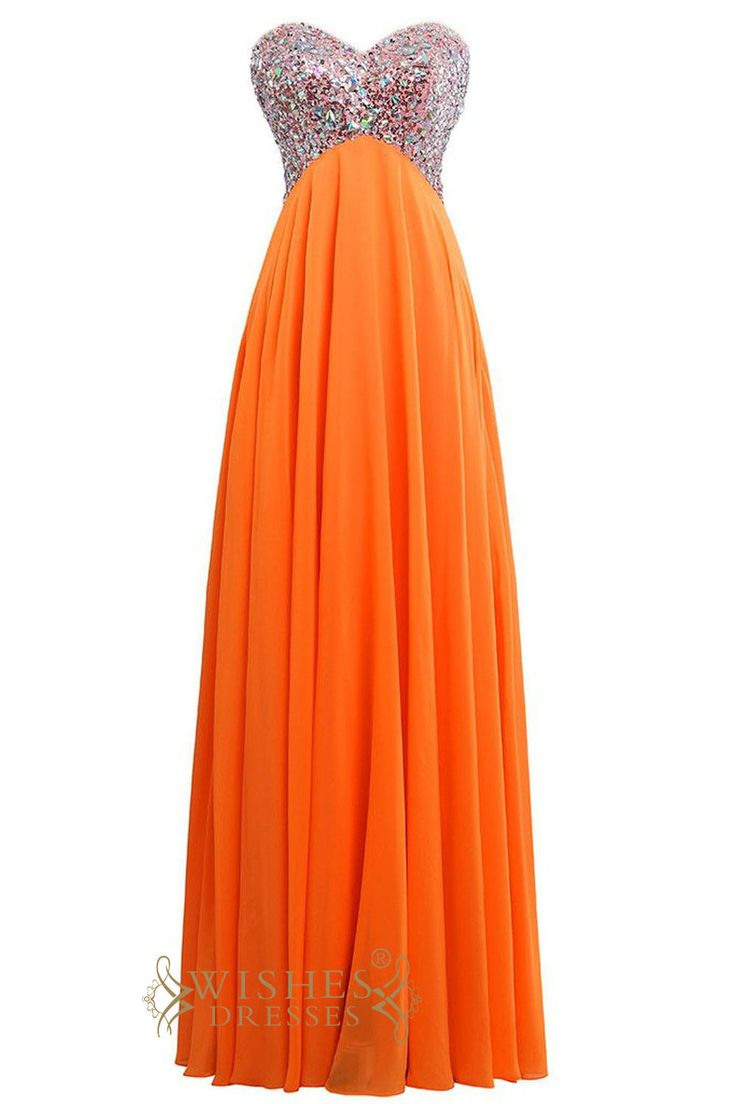 Strapless sweetheart floor length evening gown with corset back & empire waist bodice. Neckline:Sweetheart Length:Floor length Details:Beaded Fabric:Chiffon Color:Orange Size:Any Size,Made from scratc