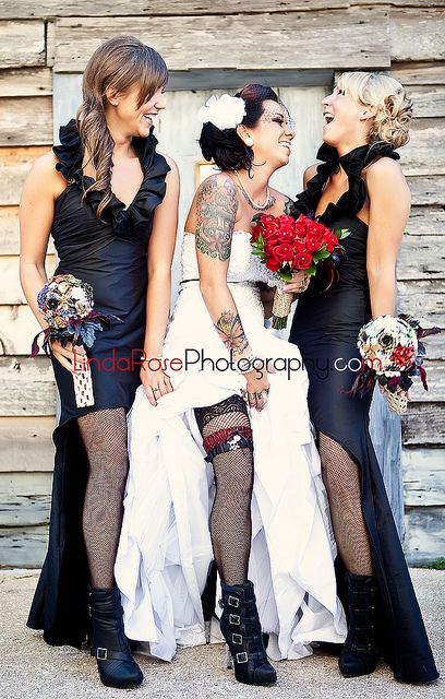 Funky bride and bridesmaids