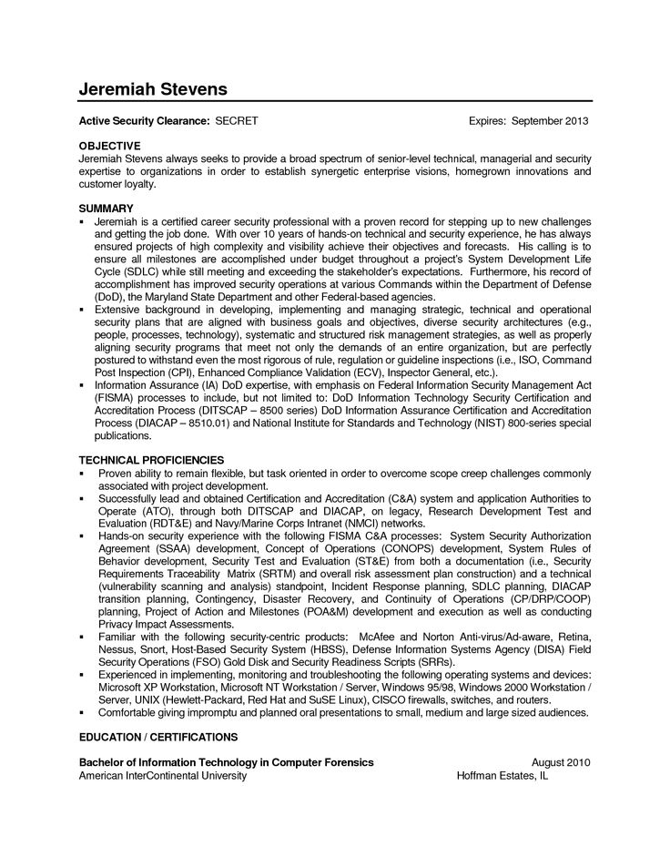 Federal resume information technology cover letter for
