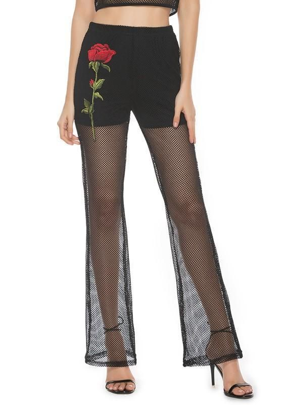 Black Rose Embroidery Fishnet Flare High Waisted Fashion Pants In