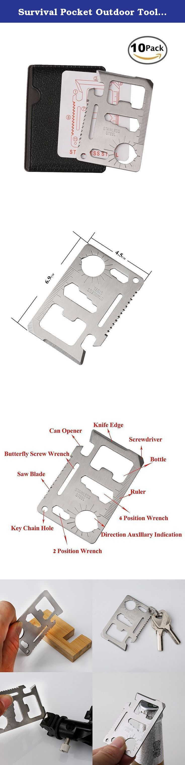 Survival Pocket Outdoor Tool, CAM-ULATA 11 in 1 Portable Multi Function Stainless Steel Credit Card Size Bottle Opener for Camping Traveling Hiking Mini Wallet, 10 Pack. Survival Pocket Outdoor Tool, CAM-ULATA 11 in 1 Portable Multi Function Stainless Steel Credit Card Size Bottle Opener for Camping Traveling Hiking Mini Wallet. Features: - Can Opener: to open cans easily with the hook. - Knife Edge: sharp blade and can cut off the ropes or peel fruit. - Small Knife: cut something…