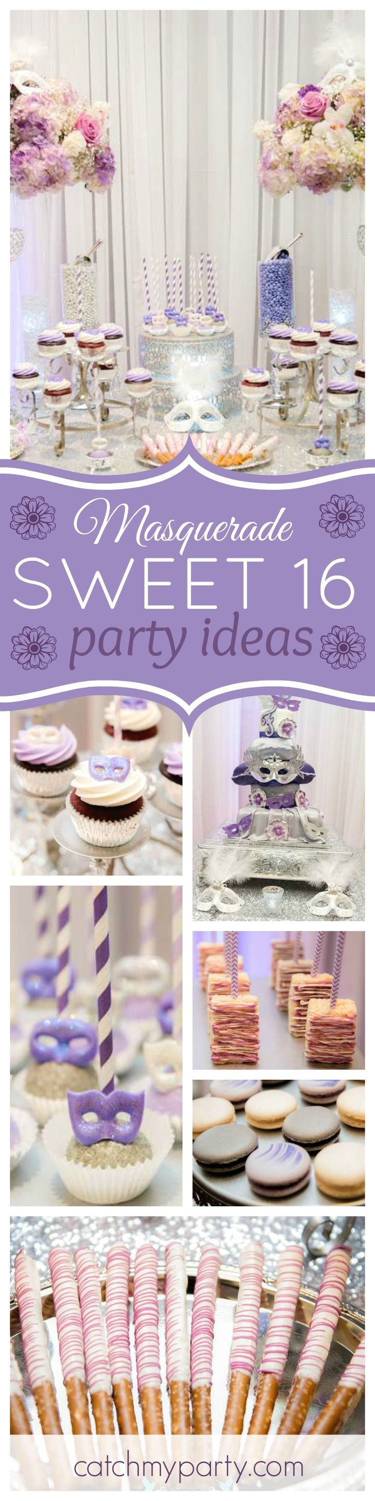 You don't want to miss this glamorous Sweet 16 Masquerade birthday party. The cake pops decorated with masks are fabulous!! See more party ideas and share yours at CatchMyParty.com