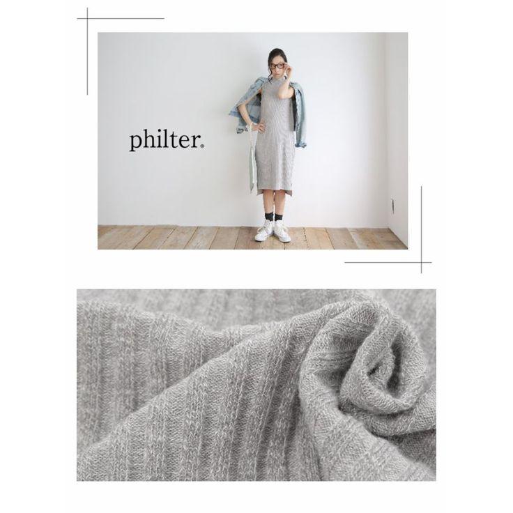 philter(フィルター)◆ロング丈サマーニットハイネックワンピース(ノースリーブ/ワンピ/タートル/ボトルネック/リブニット/ニットワンピ/マキシ) 5