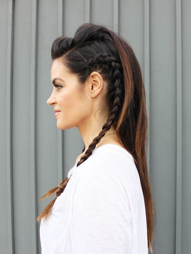 This faux hawk with braids is so fun.