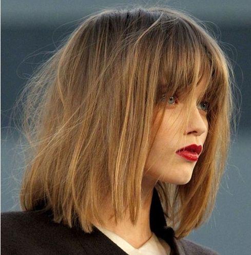 Shoulder Length Hair with Blunt Bangs   Otsikset ovat kehystäviä,hentoja ja luonnollisen taipuisia.