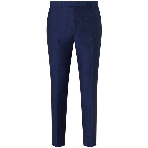 Kin by John Lewis Ayris Linen-Wool Slim Suit Trousers, Electric Blue (4.510 RUB) ❤ liked on Polyvore featuring pants, slim fit dress pants, slim suit pants, slim fit wool pants, slim dress pants and linen pants