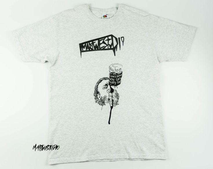 Szara Koszulka z napisem - portret - Bukowski - Martwestudio - Koszulki z aplikacją