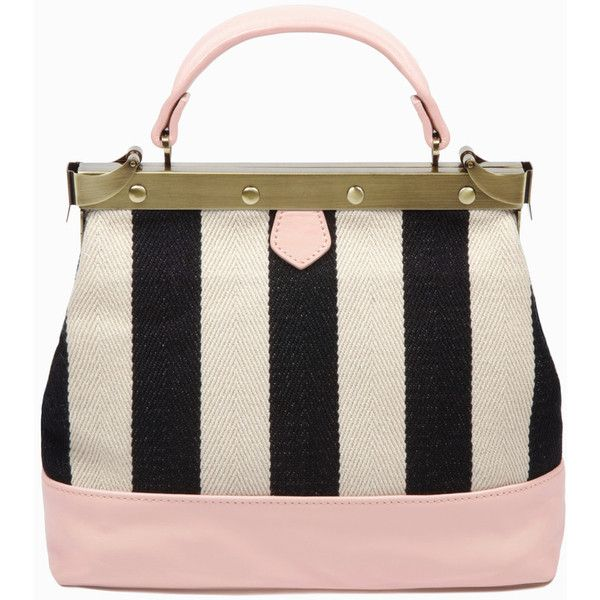 Petit Charlie Striped Canvas and Blush Pink ($349) ❤ liked on Polyvore featuring bags, handbags, pink hand bags, canvas shoulder bag, chain handle handbags, striped handbag and handbags purses