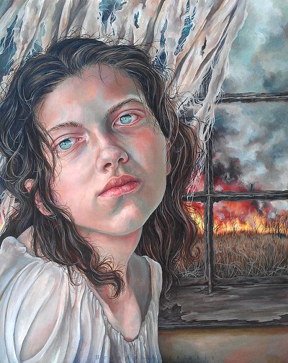 SALE 30% OFF The Madwoman in the Attic: Original Pop Surrealism Portrait Gothic Dark Jane Eyre Oil Painting - oil on canvas by Brianna Angelakis