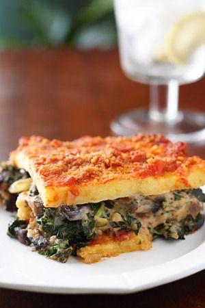 Vegan polenta lasagna with kale & mushrooms