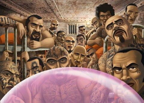 Illustration - David de Ramón - The Mushroom Company - gum, jail
