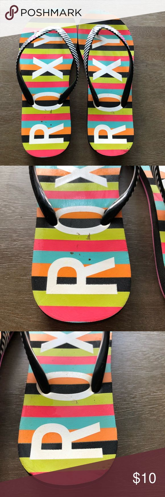 Roxy Rainbow Striped Flip Flop Sandal Great colorful striped Roxy Flip Flops, lots of life in them and no breakage or tears, these are a size 6-7 see tag picture Roxy Shoes Sandals